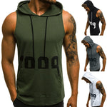 Mens Fitness Muscle Print Sleeveless Hooded Bodybuilding Pocket Tight-drying Tops