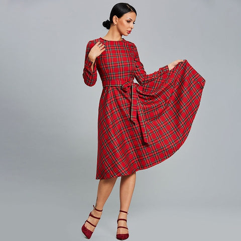 Sisjuly Women Dress Plaid Red Party Dresses Casual O Neck Long Sleeve