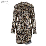Adyce 2019 New Arrival Women Winter Celebrity Runway Party Dress Black Long Sleeve Sequin Lace Mini Luxury Club Dresses Vestidos