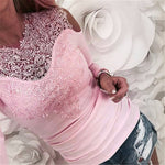 Sweet Lace T-Shirt Women Off The Shoulder Pink Slim Fit Tees