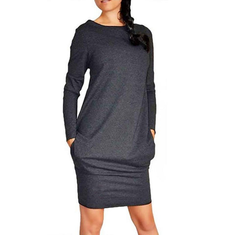 Long-sleeved Slim Bottoming Warm Dress 2019 New Hot Sale Solid Color Round Neck Casual