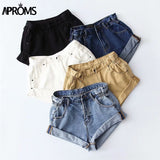 Women Sexy High Waist Buttons Pockets Slim Fit Shorts 2019 Summer Beach Streetwear Jeans Shorts