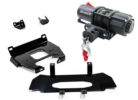 SuperATV Polaris RZR XP Turbo Winch and Winch Mounts