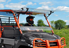 SuperATV Kawasaki Mule Pro FXT Scratch Resist Flip Up Full Windshield