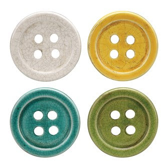 Terra-cotta Button Coasters, Set of 4