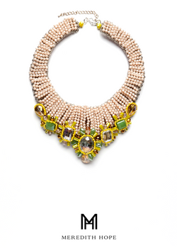 Blush Beaded Collar with Yellow and Green Beads