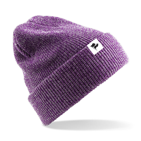 FLAG BEANIE - Heather Purple
