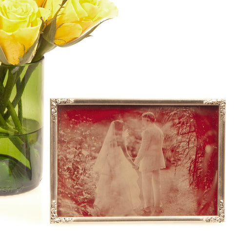 Ambrotype Red Glass Gold Frame