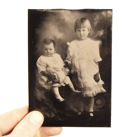 Ambrotype Black Glass image of two children