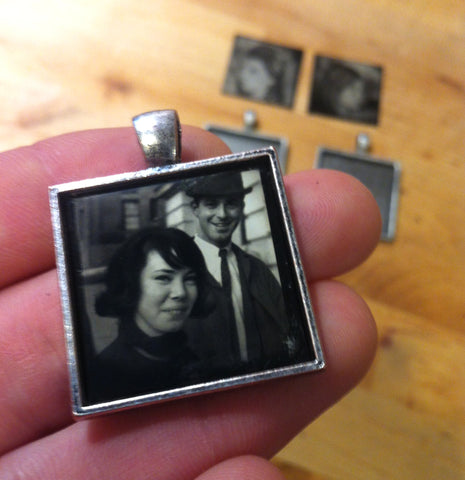 young couple in a Digital Tintype pendant