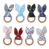 Christmas Baby Bunny Ear Wooden Teething Ring