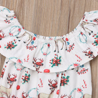 Christmas Sister Matching Clothes Romper & Lace Dress Outfit Set[
