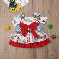 Christmas princess dress, bow tie belt, ruffled tutu