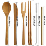 7 Pieces Set, Portable Kids Bamboo Cutlery Set with Straw for Travel