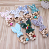 Christmas Baby Bunny Ear Safe Organic Wood Teething Ring