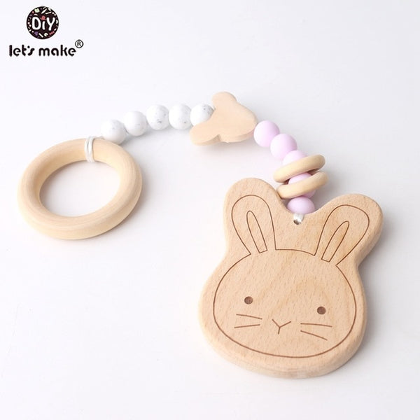 Let's Make 1pc Lovely Bunny Ear Food Grade Wooden Teether Organic Cotton Classic Sensory Toy Baby Organic Activity Gym Toy