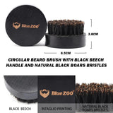 Round Beech Wood Men Beard Brush, Boar Bristles Natural Hair Brush, Styling and Cleaning