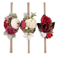 Baby Girls Artificial Flower Headband, Elastic Ribbon, SET of 3