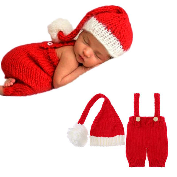 Christmas Baby Knitting Long Tail Hat and Santa Claus Crochet 2pcs set