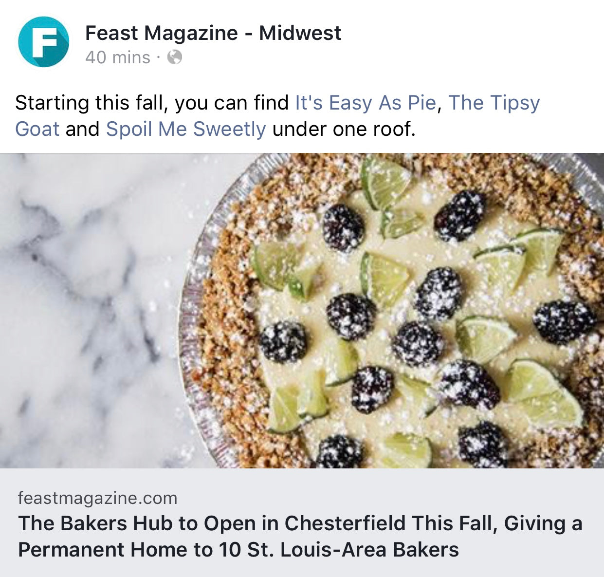 Opening This Fall...The Bakers Hub – Its Easy As Pie