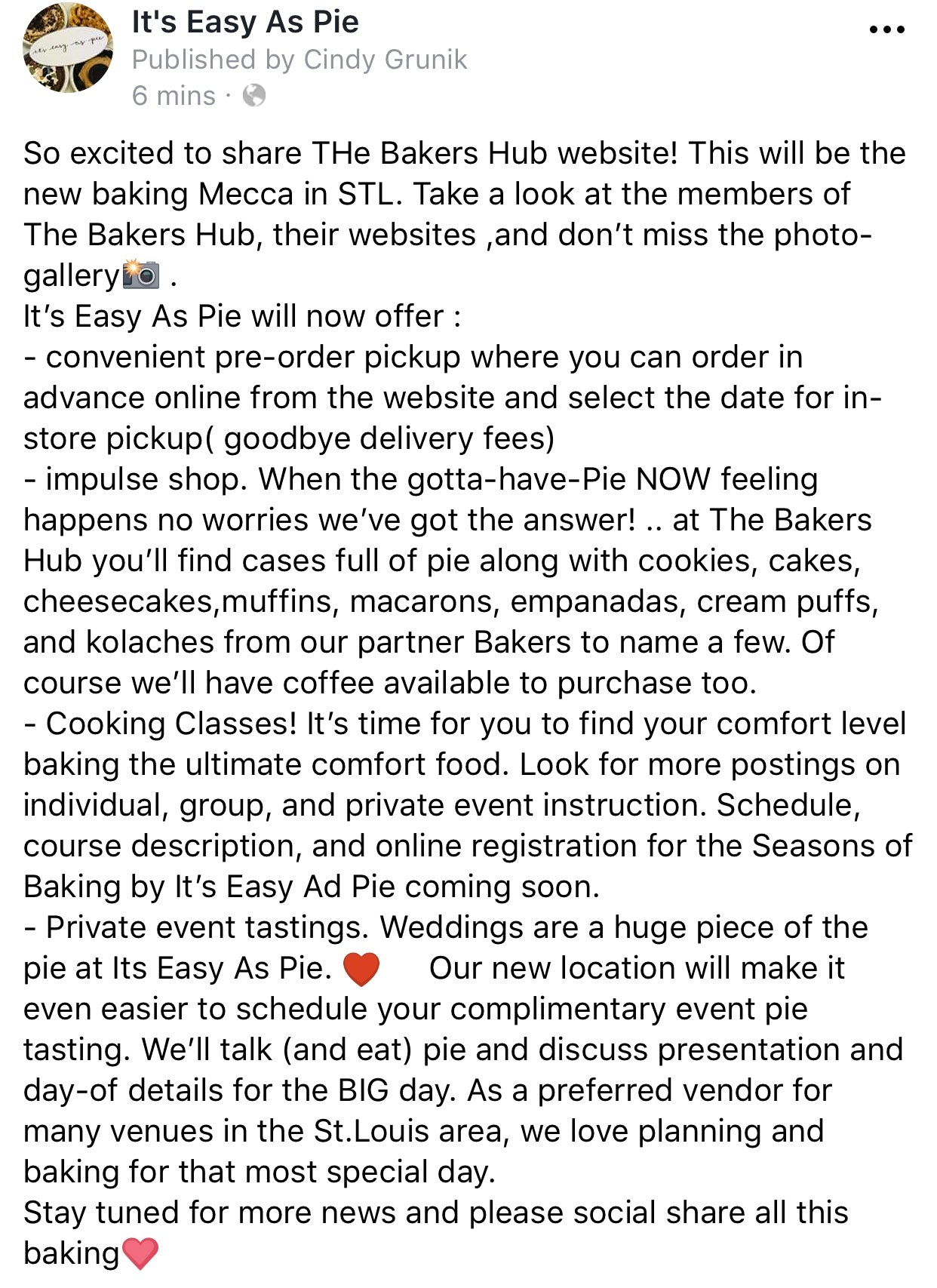 What\'s Cooking ...The Bakers Hub – Its Easy As Pie