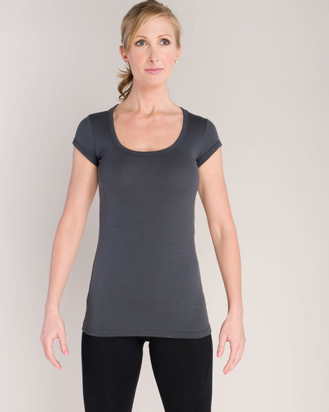 Maureen Merino Short Sleeve Tee - Gray