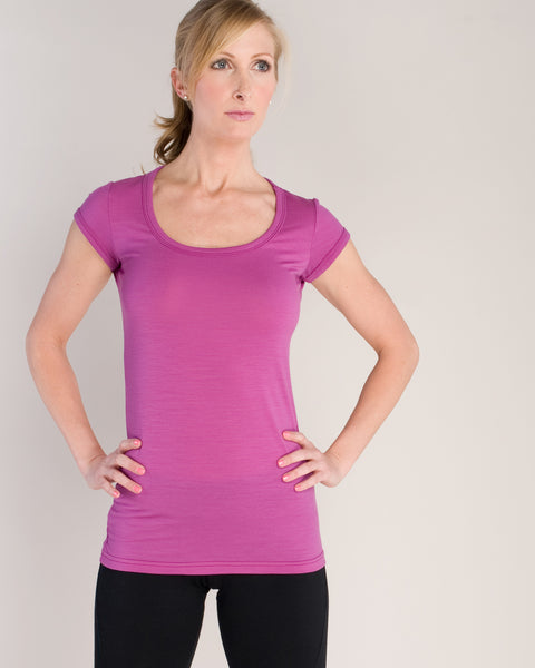 Merino Wool Short Sleeve T-Shirt for Fitness, Yoga, Base Layer and Running