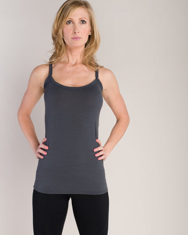 Grey Gray Merino Wool Long Tank for Fitness, Yoga and Running by Vielet