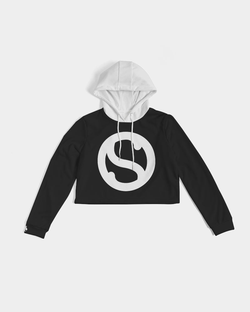 Silent Confidence Black/White Signature Cropped Hoodie
