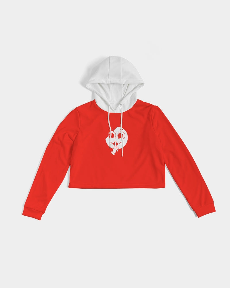 White x Red Slim Cropped Hoodie