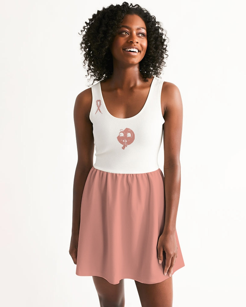 SC Tony's Pink x White Scoop Neck Skater Dress