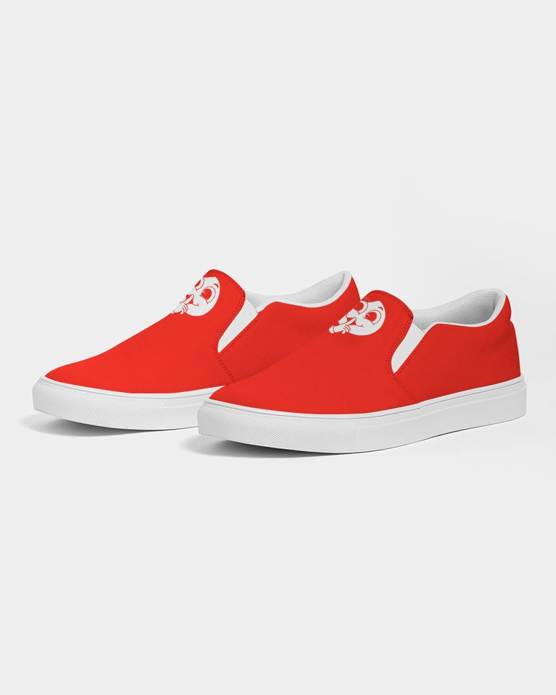 White x Red Slim Slip-On Canvas Shoe