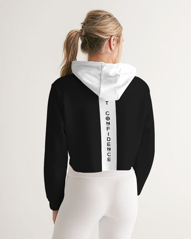 Silent Confidence Black/White Signature Women's Cropped Hoodie
