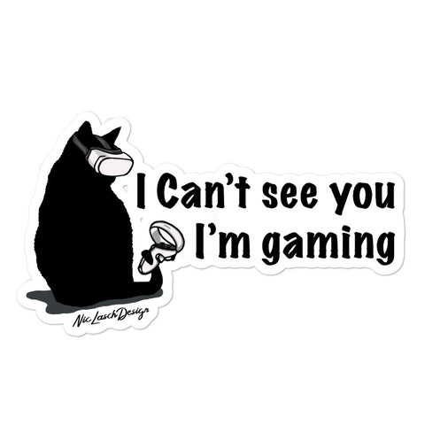 Black Gamer Cat Sticker
