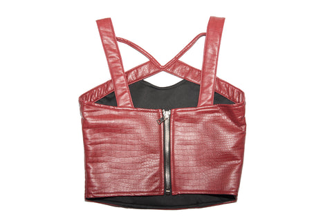 DEEP RED CROC VEGAN LEATHER BUSTIER