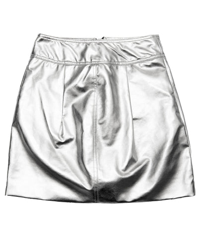 METALLIC SILVER VEGAN LEATHER MINI SKIRT
