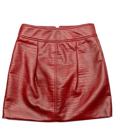 DEEP RED CROC VEGAN LEATHER SKIRT