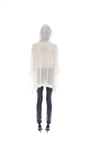 IVORY HOODED PONCHO