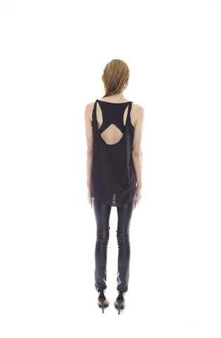 BLACK SATIN RACER BACK TANK