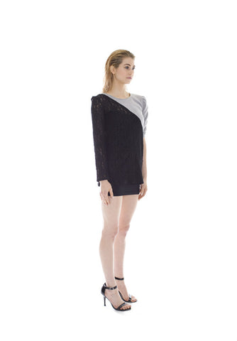 LACE AND FLEECE SLASHER TOP