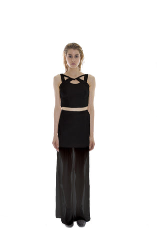 BLACK VEGAN LEATHER AND CHIFFON MAXI SKIRT