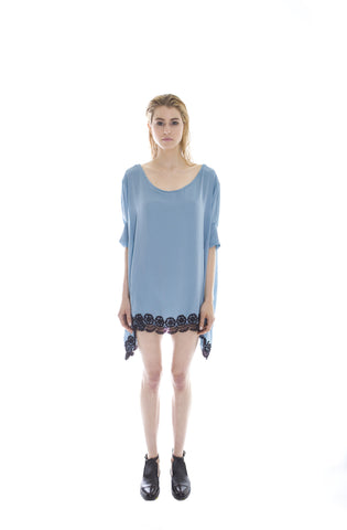 BLUE SATIN AND VENICE LACE TRIM TIE BACK TUNIC