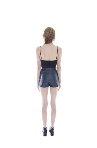 DEEP EMERALD VEGAN LEATHER SHORTS