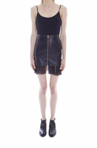 BLACK VEGAN LEATHER FRINGE MINI SKIRT