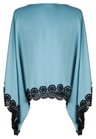 BLUE SATIN AND VENICE LACE TRIM KIMONO