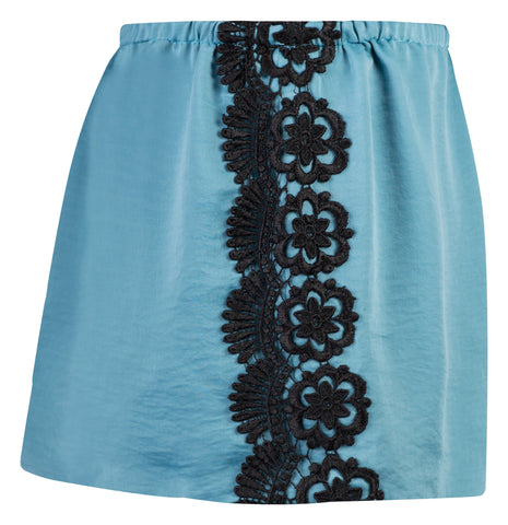 BLUE SATIN AND VENICE LACE TRIM SHORTS