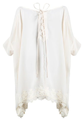 WHITE SATIN AND VENICE LACE TRIM TIE BACK TUNIC