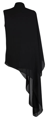 BLACK ASYMMETRICAL BLOUSE