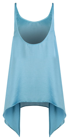BLUE SATIN SCOOP BACK TANK