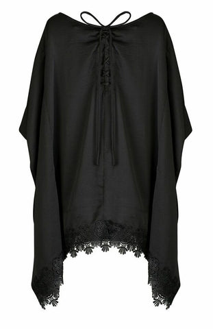 BLACK SATIN and VENICE LACE TRIM TIE BACK TUNIC
